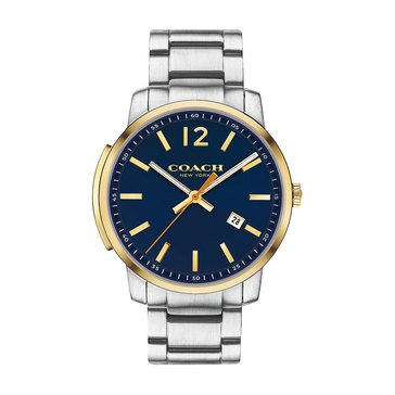 Coach Men's Bleecker Navy/Stainless Steel Slim Watch, 42mm