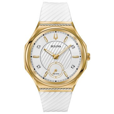 Bulova Women's Curv Gold Tone/White Diamond Watch, 41mm