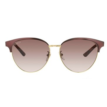 Gucci Women's Sunglasses GG0074SK-004, Brown and Gold with Grey Lenses 58mm