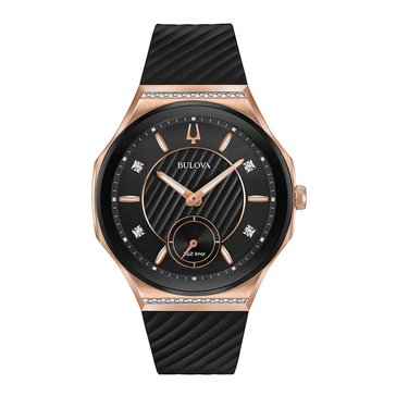 Bulova Women's Curv Rose Gold/Black Diamond Watch, 41mm