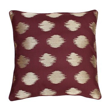 Thro Deniz Metallic Embroidered Oxblood Gold 20 X 20 Pillow