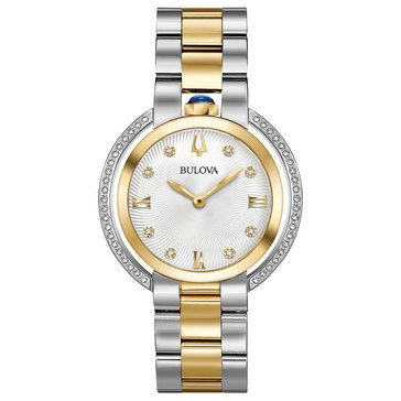 Bulova Women's Rubaiyat Gold Tone & Stainless Steel Diamond Watch, 35mm