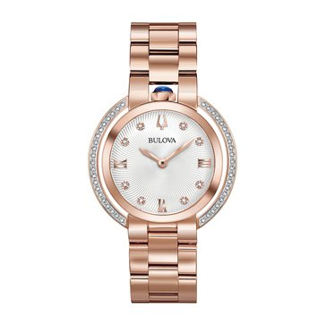 Bulova Women's Rubaiyat Silver/Rose Gold Tone Diamond Watch, 35mm