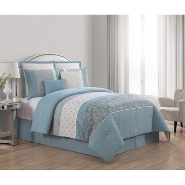 Harbor Home Gold Collection Winona 8-Piece Comforter Set, Aqua - Queen