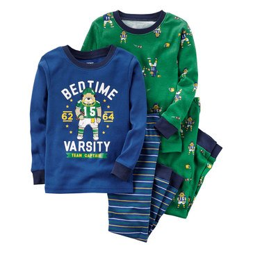 Carter's Toddler Boys' 4-Piece Pajamas, Football Bedtime Varsity