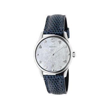 Gucci Women's G-Timeless Mother of Pearl/Blue Lizard Watch, 36mm