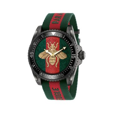 Gucci Men's Embroidered Bee Green & Red Web Dive Watch, 45mm