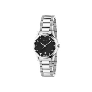 Gucci Women's G-Timeless Watch YA126573, Black/ Stainless Steel 27mm
