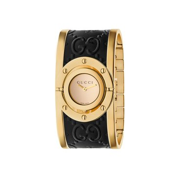 Gucci Women's Twirl Yellow Gold Plate/Embossed Black Leather Watch, 24mm