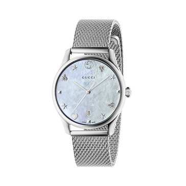 Gucci Women's G-Timeless Watch YA1264040, Mother of Pearl/ Stainless Steel Mesh 36mm