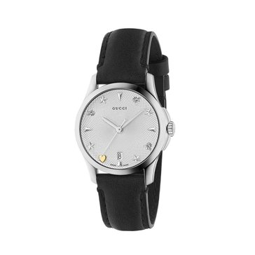 Gucci Women's G-Timeless Diamante Silver/Black Leather Watch, 27mm