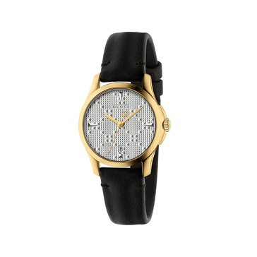 Gucci Women's G-Timeless Diamante Silver/Yellow Gold Plated/Black Leather Watch, 27mm