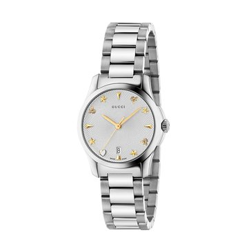 Gucci Women's G-Timeless Watch YA126572, Silver/ Stainless Steel 27mm