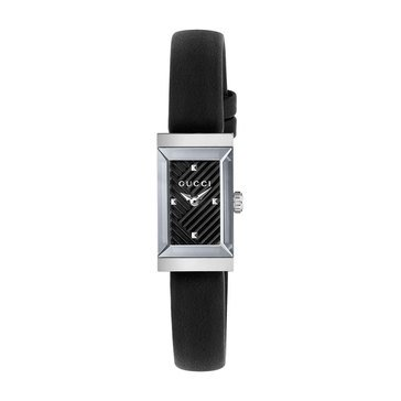 Gucci Women's G-Frame Stainless Steel/Black Leather Watch, 22mm