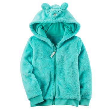 Carter's Toddler Girls' Velboa Animal Zip Hoodie, Green