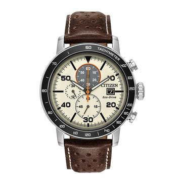 Citizen Men's Brycen Ivory/Brown Leather Eco-Drive Watch, 44mm