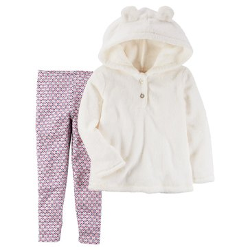 Carter's Toddler Girls' 2-Piece Velboa Legging Set, Ivory