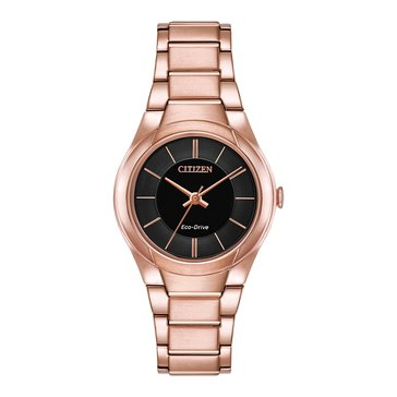 Citizen Women's Eco-Drive Paradigm Black/Pink Gold Tone Stainless Steel Watch, 29mm