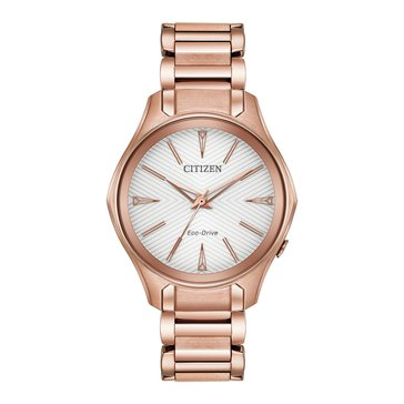 Citizen Women's Eco-Drive Modena Pink Gold Tone Stainless Steel Watch, 36mm