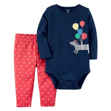 Carter's Baby Girls' Bodysuit Pant Set, Dog With Balloons