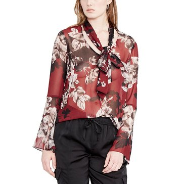 Rachel Roy Tie Neck Blouse in Port Comb