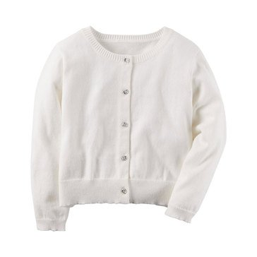 Carter's Little Girls' Cardigan Sweater, White