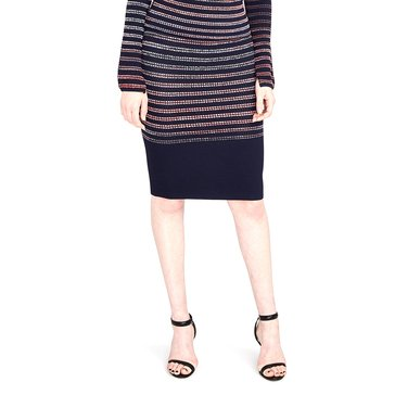 RACHEL Rachel Roy Women's Space Dye Striped Skirt in Navy/Port Comb