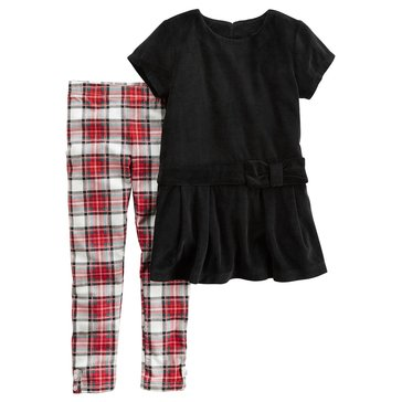Carter's Little Girls' 2-Piece Velour Legging Set, Black