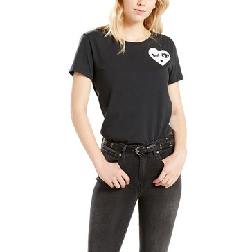 Levi's Women's Short Sleeve Perfect Graphic Tee Wink Jet Black