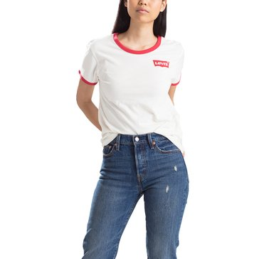 Levi's Women's Short Sleeve Perfect Ringer Tee Batwing- Marshmallow
