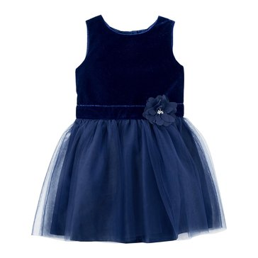 Carter's Toddler Girls' Holiday Velour Dress, Navy