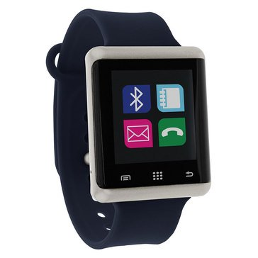 iTouch Unisex Air Silver Tone/Navy Smart Watch, 45mm