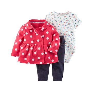 Carter's Baby Girl's 3-Piece Cardigan Set, Red White Dot