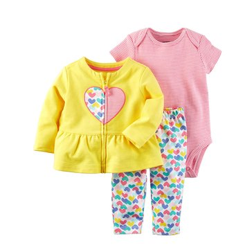 Carter's Baby Girls' 3-Piece Cardigan Set, Heart