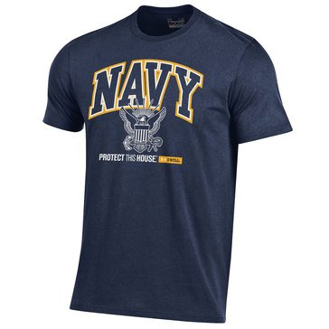 Under Armour Men's Navy Charged Cotton Tee With Eagle Protect This House