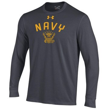 Under Armour Men's Navy Eagle Long Sleeve Charged Cotton Tee