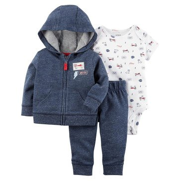 Carter's Baby Boys' 3-Piece Cardigan Set, Super Dog