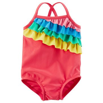 Carter's Baby Girls' 1-Piece Rainbow Ruffle Swimsuit