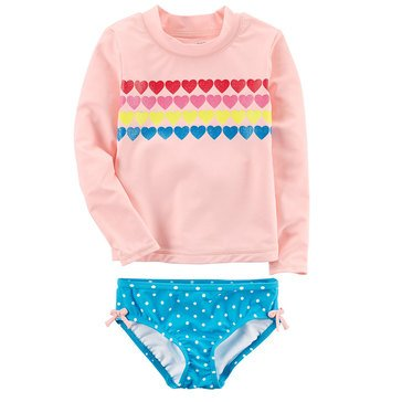 Carter's Baby Girls' 2-Piece Rashguard Set, Multi Heart