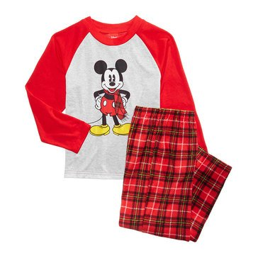 Briefly Stated Mickey Plaid Family PJs Toddler Boy Set