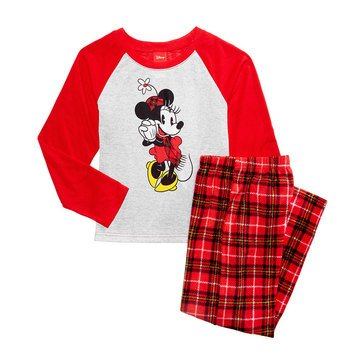 Briefly Stated Minnie Plaid Family PJs Toddler Girl Set