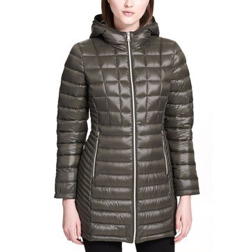 Calvin Klein Women's Packable Down 3/4 Coat With Hoodie