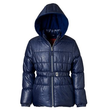 iApparel Toddler Girls' Quilted Foil Cinch Waist Jacket, Navy