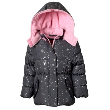 iApparel Toddler Girls' Foil Print Puffer Jacket, Charcoal