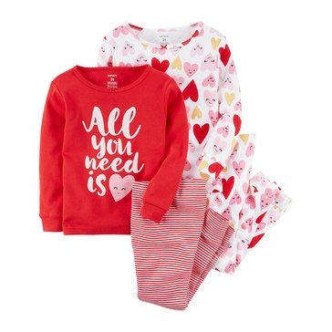 Carter's Baby Girls' 4-Piece Pajamas Set, Hearts