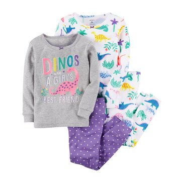 Carter's Baby Girls' 4-Piece Pajama Set, Dino
