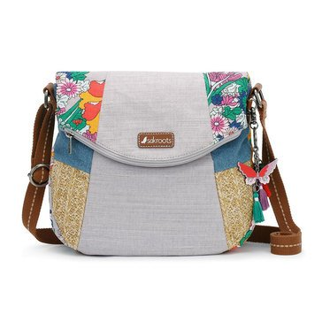 Sakroots Foldover Crossbody Lilac Flower Power