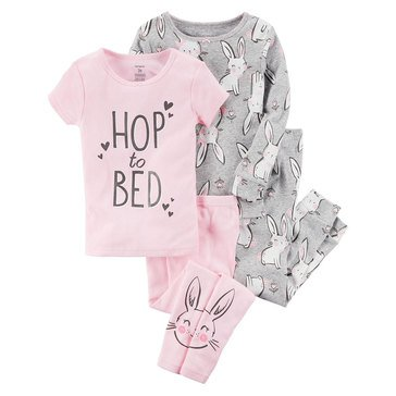 Carter's Baby Girls' 4-Piece Pajama Set, Bunnies