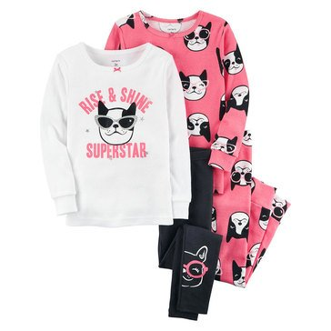Carter's Baby Girls' 4-Piece Pajama Set, Dog Sunglasses