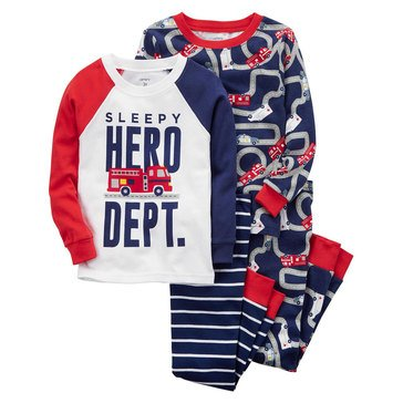 Carter's Baby Boys' 4-Piece Pajamas Set, Firetruck